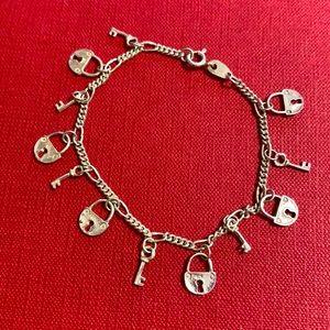 🖤Vintage LEX lock & key Sterling bracelet